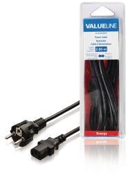 Valueline VLEB10030B20 Stroomkabel Schuko recht mannelijk - IEC-230-C13 2,00 m zwart