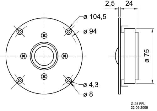 "Visaton 1175 High-End dome tweeter 25 mm (1"") 8 Ohm"