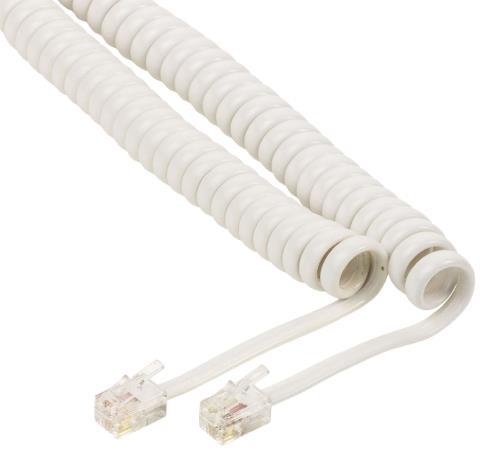 VLTP90100W20 Headset spiraalkabel RJ10 mannelijk - RJ10 mannelijk 2,00 m wit