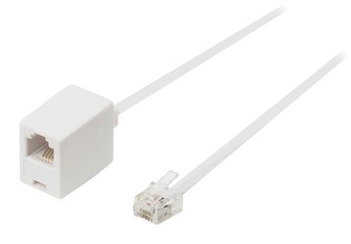 VLTP90205W100 Telecom verlengkabel RJ11 mannelijk - RJ11 vrouwelijk 10,0 m wit