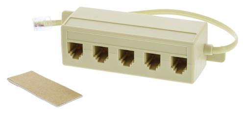 VLTP90825I02 Telecom splitterbox RJ11 mannelijk - 5x RJ11 vrouwelijk 0,20 m ivoor