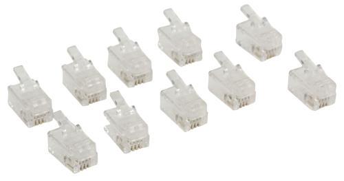Valueline VLTP90913T RJ10 connector RJ10 mannelijk transparant 10 stuks