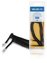 Valueline VLTB90100B20 Spiraalkabel voor telefoonhoorns RJ10 mannelijk - RJ10 mannelijk 2,00 m zwart