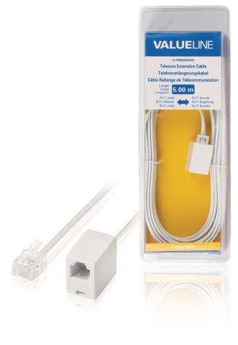 VLTB90205W50 Telecomverlengkabel RJ11 mannelijk - RJ11 vrouwelijk 5,00 m wit