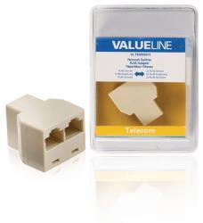 Valueline VLTB90991I Netwerksplitter RJ45 vrouwelijk - 2x RJ45 vrouwelijk ivoor