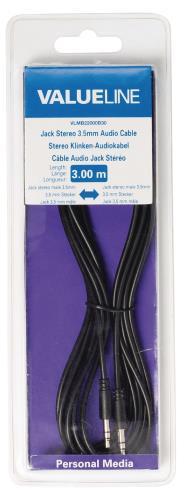 Valueline VLMB22000B30 Jack stereo audiokabel 3,5 mm mannelijk - 3,5 mm mannelijk zwart 3,00 m