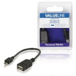 Valueline VLMB60515B02 USB adapterkabel USB 2.0 A vrouwelijk - USB 2.0 Micro B mannelijk OTG zwart 0,20 m