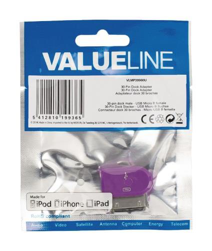 Valueline VLMP39900U 30-pins dock-adapter 30-pins dock mannelijk - USB Micro B vrouwelijk paars