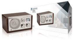 König HAV-TR1000 Tafel radio retro donker hout