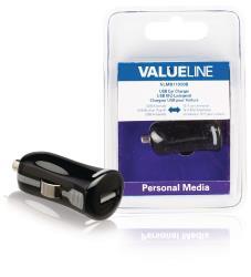 Valueline VLMB11950B USB-autolader USB A female - 12V-autoaansluiting zwart 2.1A