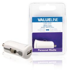 Valueline VLMB11950W USB-autolader USB A female - 12V-autoaansluiting wit 2.1A