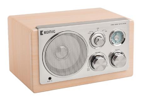 König HAV-TR1300 Tafel radio retro licht hout