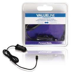 Valueline VLMB39891B10 Lightning-aansluiting autolader lightning male - 12V-autoaansluiting 1,00 m zwart 2.4A