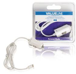 Valueline VLMB39891W10 Lightning-aansluiting autolader lightning male - 12V-autoaansluiting 1,00 m wit 2.4A