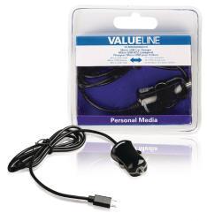 Valueline VLMB60890B10 Micro-USB-autolader Micro USB male - 12V autoaansluiting 1,00 m zwart 2.1A