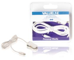 Valueline VLMB60890W10 Micro-USB-autolader Micro USB male - 12V-autoaansluiting 1,00 m wit 2.1A