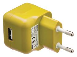 Valueline VLMP11955Y USB-lader USB A female - AC-huisaansluiting geel