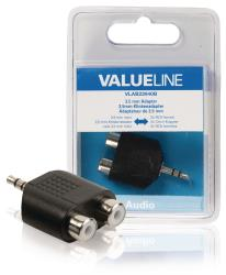Valueline VLAB22940B Audio-adapter 3,5 mm male - 2x RCA female zwart