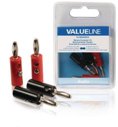 Valueline VLAB26900V Audio-aansluitset 2x banaan male zwart - 2x banaan male rood