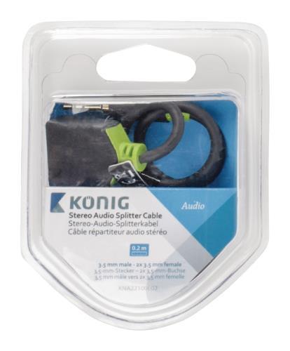 König KNA22100E02 Stereo audio splitterkabel 3,5 mm male - 2x female 0,20 m grijs