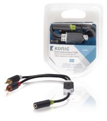 König KNA22255E02 Stereo audio adapterkabel 2x RCA male - 3,5 mm female 0,20 m grijs