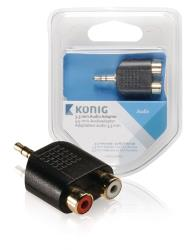 König KNA22940E 3,5 mm audio adapter 3,5 mm male - 2x RCA female 1 stuk grijs