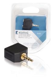 König KNA22945E 3,5 mm audio splitter 3,5 mm male - 2x 3,5 mm female 1 stuk grijs