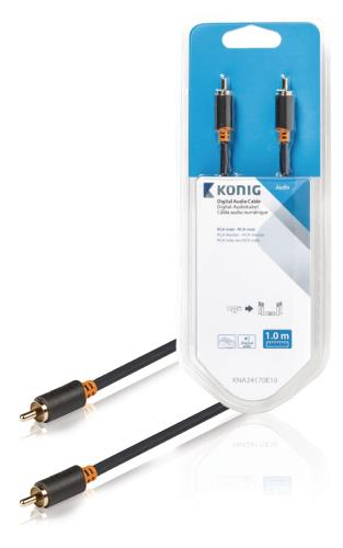 König KNA24170E10 Digitale audiokabel RCA male - male 1,00 m grijs