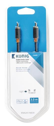 König KNA24170E30 Digitale audiokabel RCA male - male 3,00 m grijs