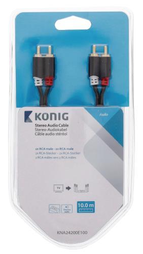 König KNA24200E100 Stereo audiokabel 2x RCA male - 2x male 10,0 m grijs