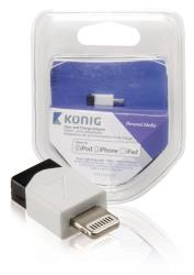 König KNM39901W Sync and charge adapter 8-pins Lightning male - USB 2.0 Micro B female 1 stuk wit