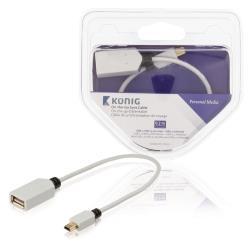 König KNM60315W02 OTG datakabel USB 2.0 Mini 5-pins male - USB 2.0 A female 0,20 m wit