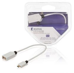 König KNM60515W02 OTG datakabel USB 2.0 Micro B male - USB 2.0 A female 0,20 m wit