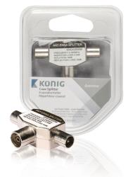 König KNS40950W Coax splitter 2x coax male - female 1 stuk wit
