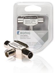 König KNS40951W Coax splitter coax male - 2x female 1 stuk wit