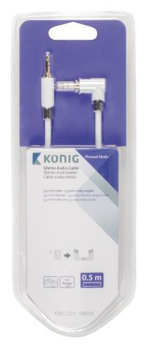 König KNM22600W05 Stereo audiokabel 3,5 mm male - male haaks 0,50 m wit