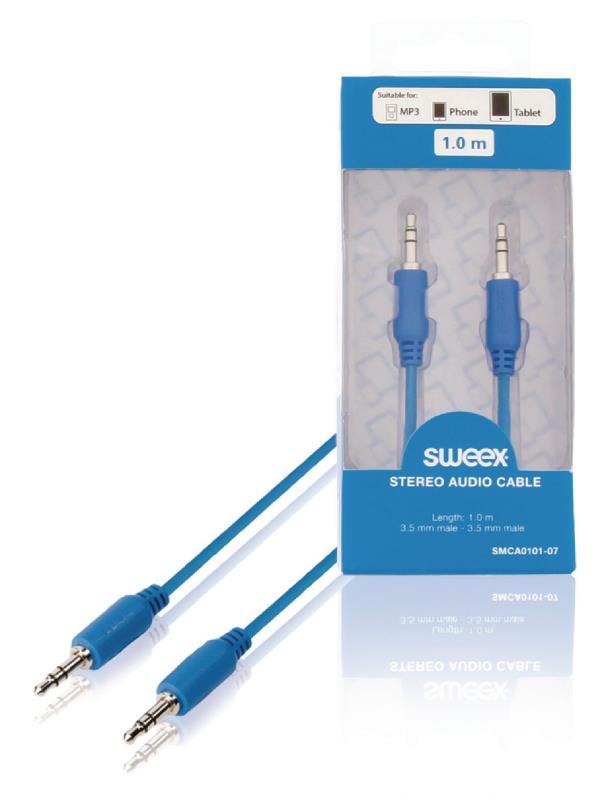 Sweex SMCA0101-07 Stereo audio kabel 3.5 mm male - male 1.00 m blauw