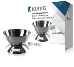 König HC-KS32N Digitale keukenweegschaal met roestvrijstalen kom