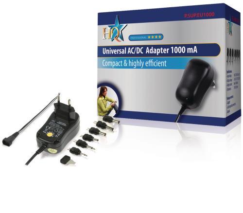 P.SUP.EU1000 Universele AC/DC adapter 1000 mAh