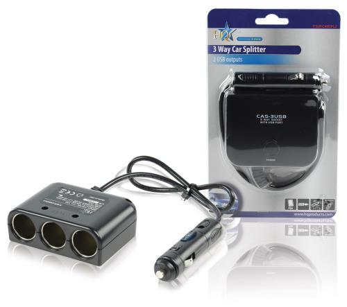 P.SUP.CARSPL2 3-weg autoverdeeladapter 12 V USB