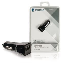 König CS12UC001BL Universele USB auto lader 1,2 A