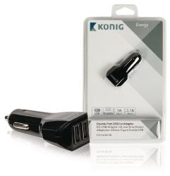 König CS31UC001BL Universele USB auto lader met dubbele poort 1 A en 2,1 A