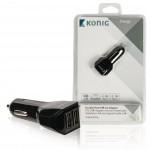 König CS42UC001BL Universele USB auto lader met dubbele poort 2,1 A en 2,1 A
