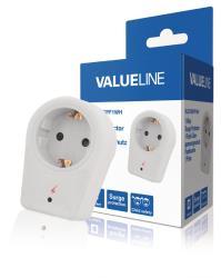 Valueline VLES100SPF1WH 1-wegs schuko-adapter overspanningsbeveiliging wit