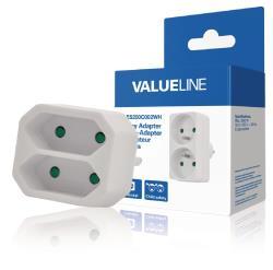 Valueline VLES200C001WH 2-wegs schuko-naar-euro-adapter wit