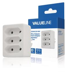 Valueline VLES300C001WH 3-wegs schuko-naar-euro-adapter wit