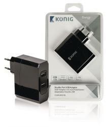 König CS48UW001BL Universele USB lader met dubbele poort, 2.4 A en 2.4 A
