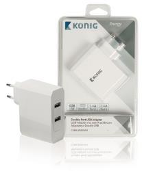 König CS48UW001WH Universele USB lader met dubbele poort, 2.4 A en 2.4 A