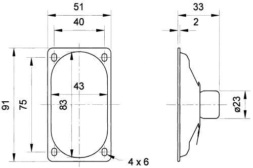 Visaton 8055 Afgeschermde ovale breedbandluidspreker 4 Ohm