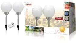 Ranex 5000.391 LED-tuinverlichting op zonne-energie met afstandsbediening, op pen, verpakking van 2 stuks